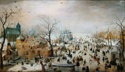 """""""Winter Landscape with Ice Skaters"""" by Hendrick Avercamp, an artist specialized in winter scenes (Rijksmuseum Amsterdam)"""