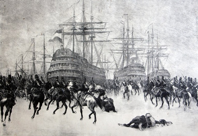 The French capture of the Dutch fleet at Den Helder in 1795